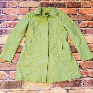 Eddie Bauer size petite S green trenchcoat.